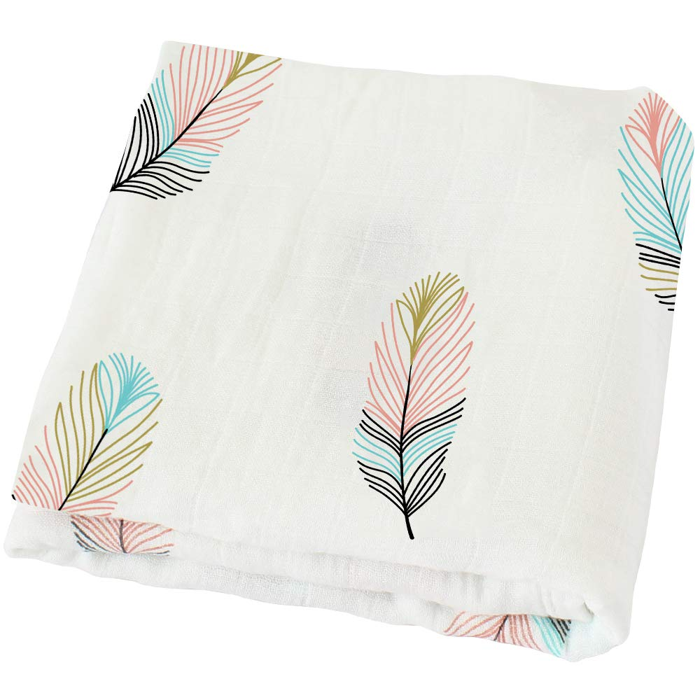 LifeTree Muslin Swaddle Blankets - Feather Print Bamboo Cotton Soft Baby Girl or Baby Boy Muslin Blanket product image