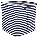 DII Cabana Stripe Collapsible Waterproof Coated Anti-mold Cotton Rectangle Hamper, Perfect For Laundry Room, Bedroom, Nursery, Dorm, Closet, and Home Organization, 16 x 16 x 19'' - French Blue