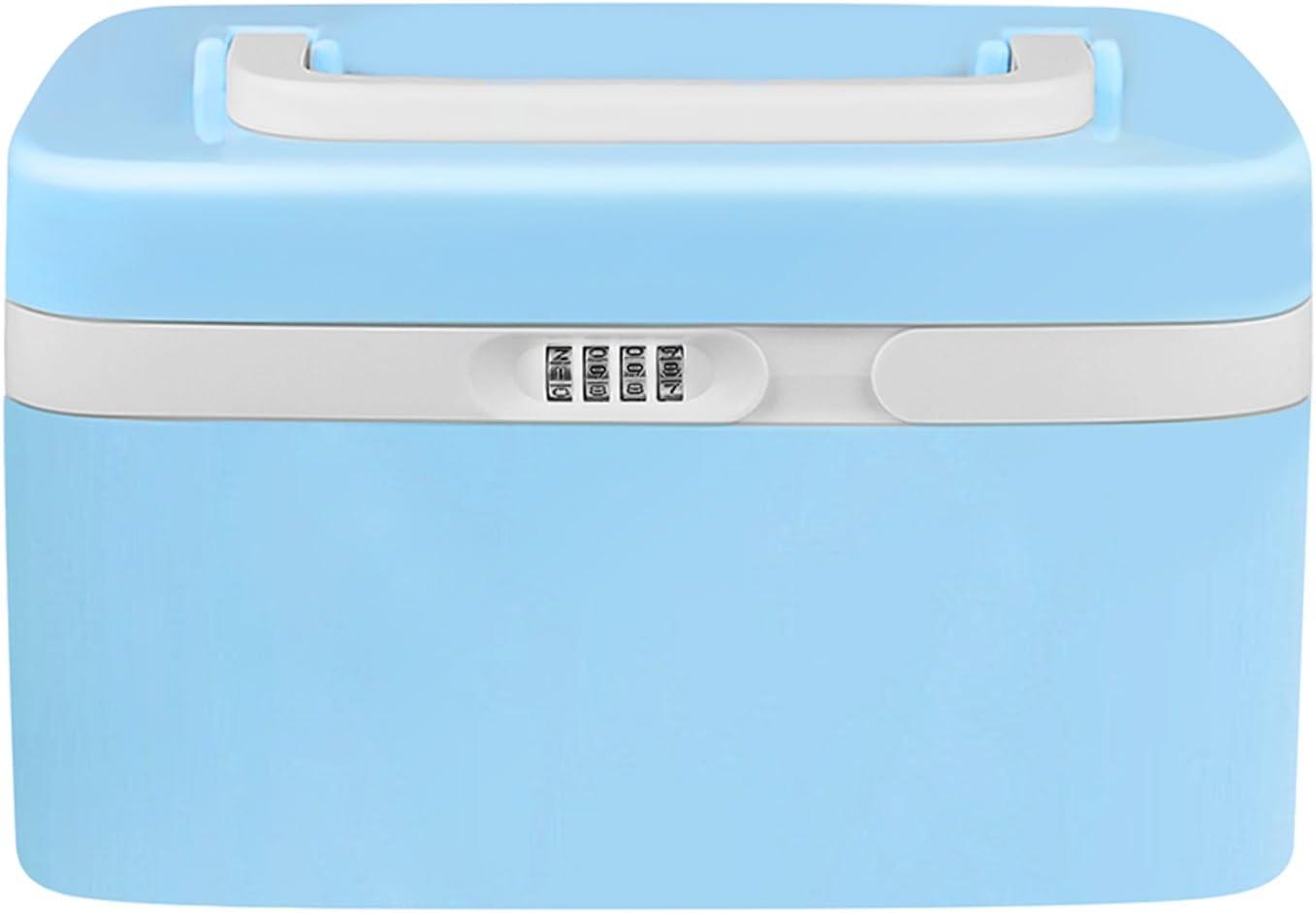 eoere Combination Lock Medicine Cabinet with Separate Compartments,Locking Prescription Pill Case,Child Proof Plastic Storage Box, Size 11 x 7.4 x 6.2 inches, Blue