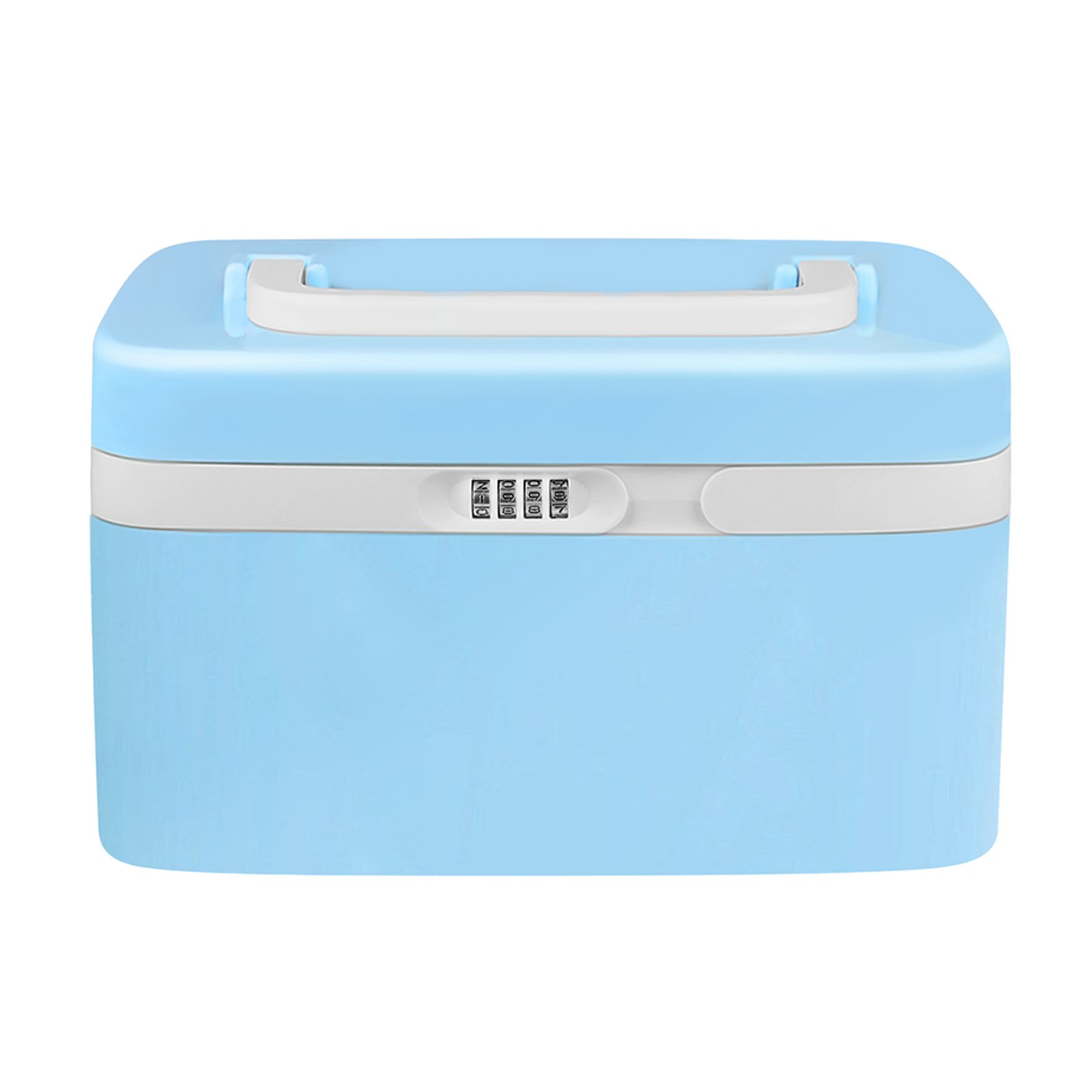 eoere Combination Lock Medicine Cabinet with Separate Compartments,Locking Prescription Pill Case,Child Proof Plastic Storage Box, Size 11 x 7.4 x 6.2 inches, Blue by eoere