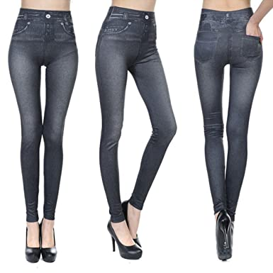 Amazon.com: Pop Fashion Jeggings Jeans for Women Washed Denim ...