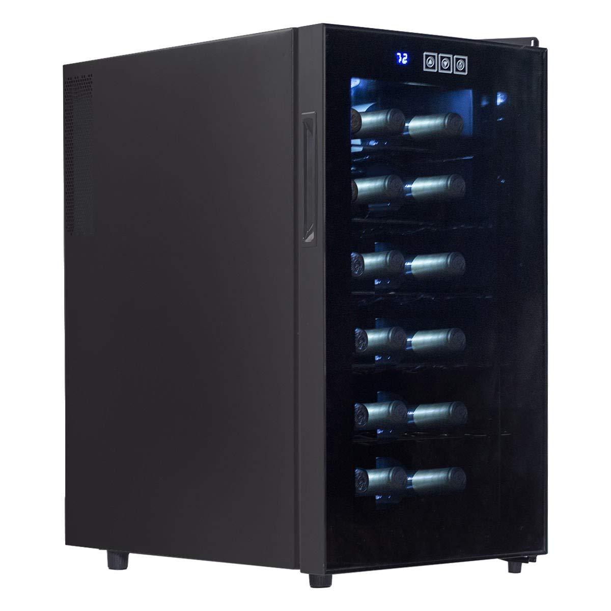 LHONE Mini Wine Cooler Fridge Freestanding Refrigerator Chiller Counter Top Wine Cellar with Digital Temperature Display Quiet Operation Fridge Black (18 Bottle)