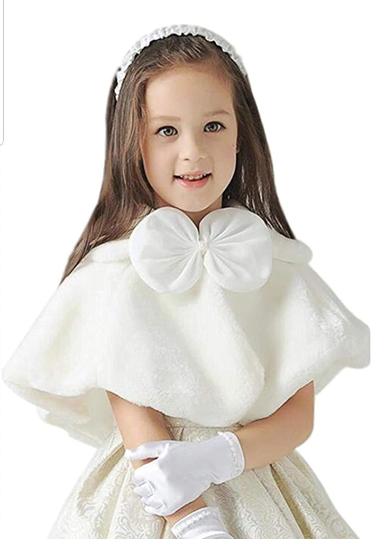 Shop Ginger Wedding Girls Navy Off White Flower Faux Fur Shawl Wraps Cape Kids Communion C6