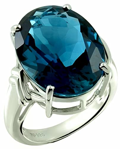7def7c5a19566 Sterling Silver 925 STATEMENT Ring GENUINE BLUE TOPAZ 22 Carats with ...
