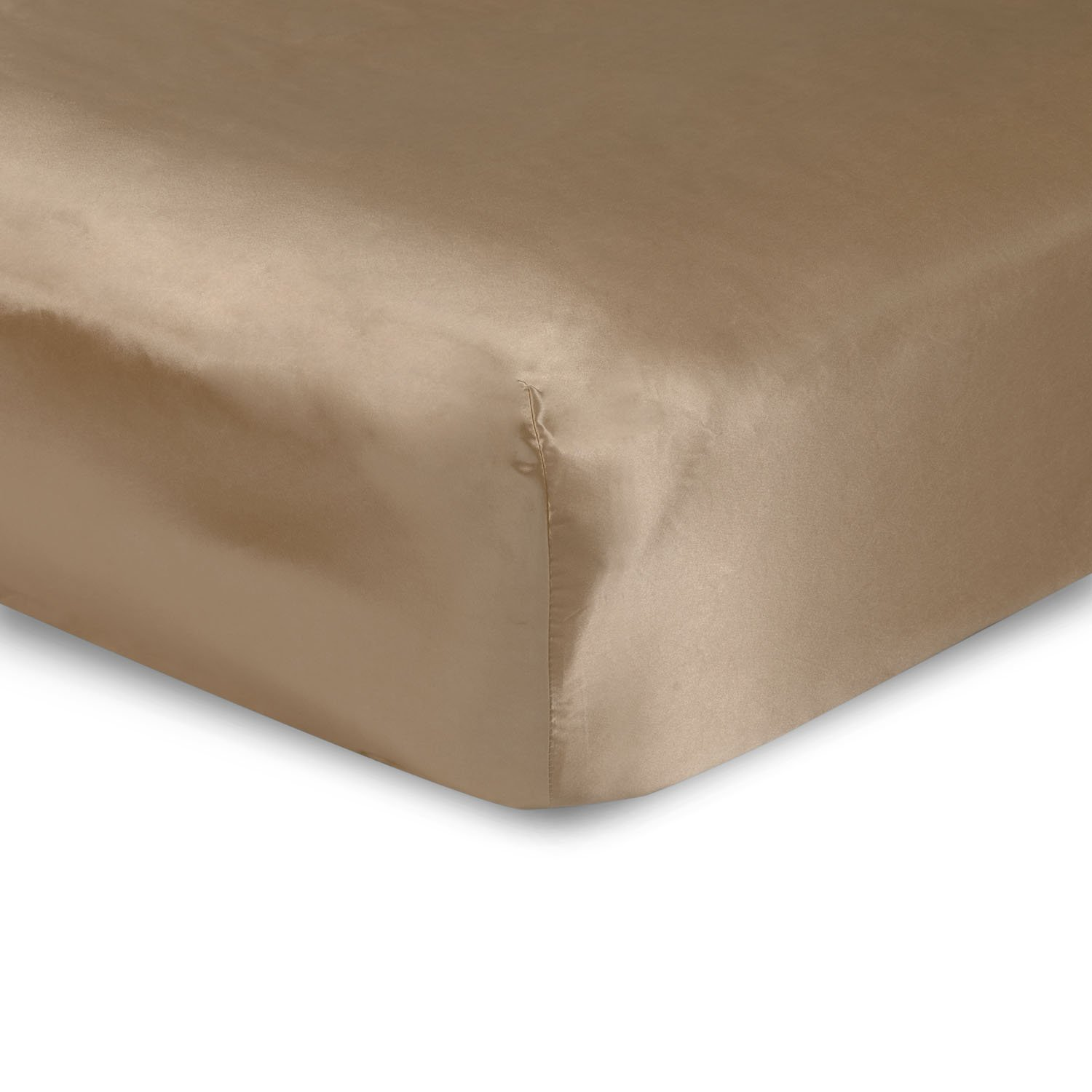 Sweet Dreams Silky Satin Fitted Sheets - Twin, Camel, Wrinkle Free and Stain Resistant Super Soft Luxury Satin Bed Sheets with Extra Deep Pockets