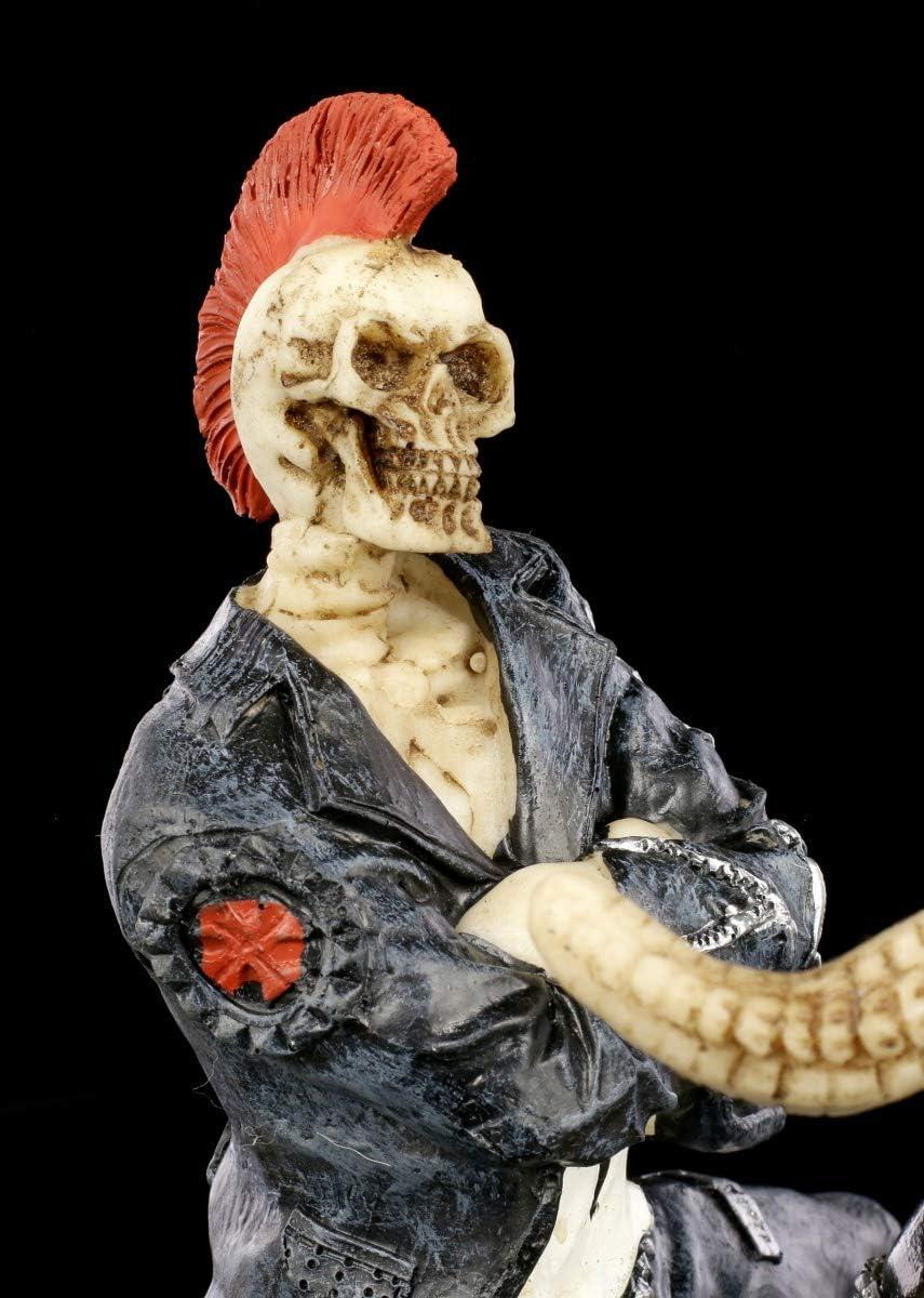Peint /à la Main Figuren Shop Gmbh Gothique Squelette Biker Grand Fantasy-Dekofigur Clair pour Leather