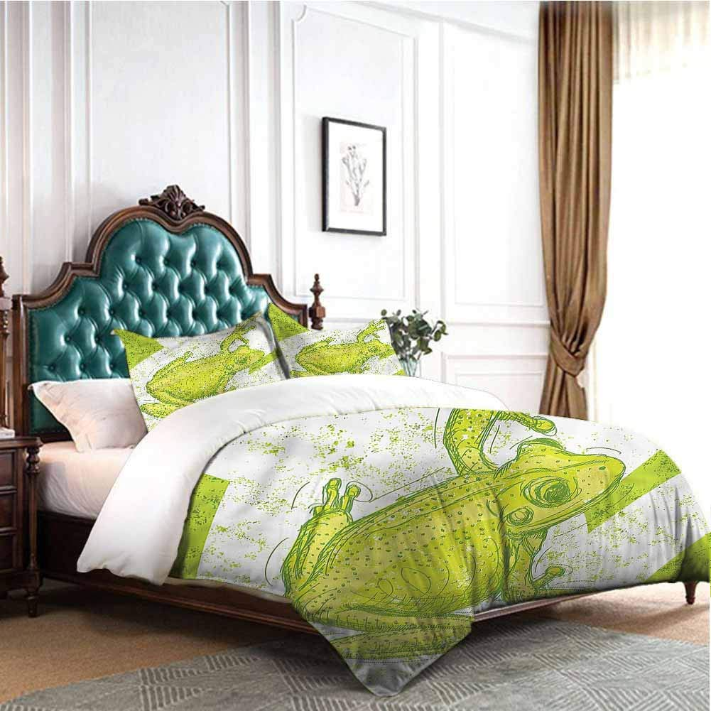 Jktown Animal 3 Pieces Duvet Cover Set Dirty Grunge Effect and Frog Bedding Set for Men, Women, Boys and Girls Full