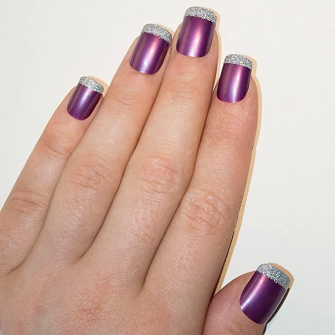 Uñas Postizas Bling Art Púrpura Plata 24 Squoval Medio Falsas puntas ...