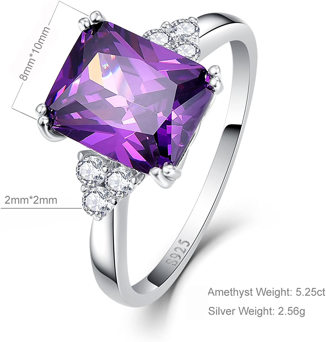 2mm Solid 925 Sterling Silver Purple /& Clear Cubic Zirconia CZ Fashion or Engagement Ring