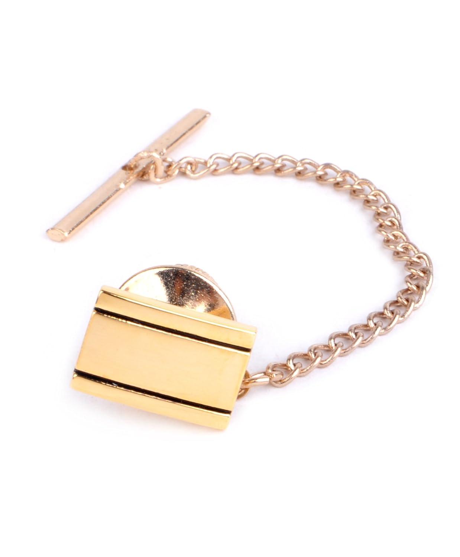 Golden & Silvery Tone Rectangle Tie Tack Pin Selini NY TT1608-Gold