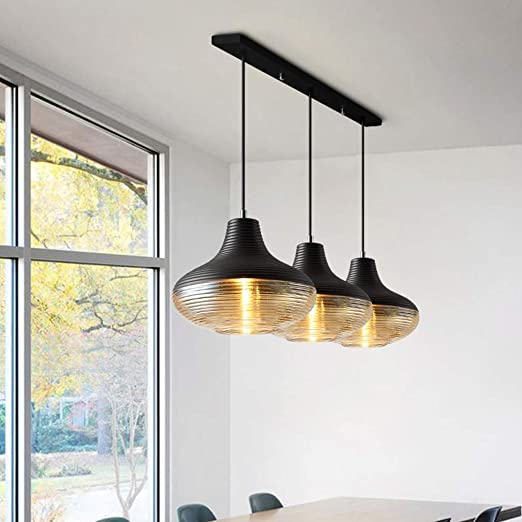 Lámpara colgante creativa de vidrio vintage, mesa de comedor ...