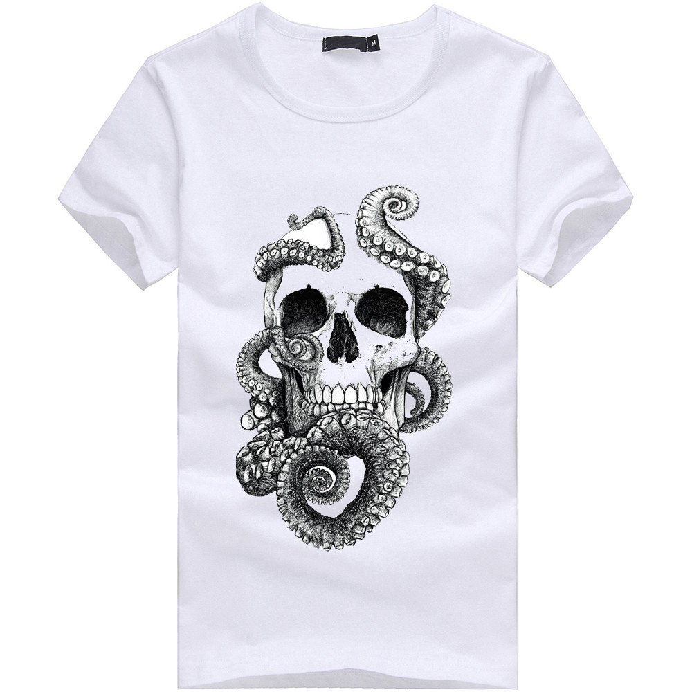 Danhjin Stylish Unisex Personalized Creative Novelty 3D Printed Octopus Skull T-Shirts Short Sleeve Tops Tees White