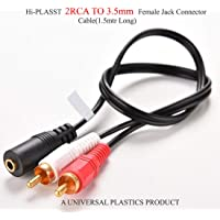 "Hi-PLASST (1.5Mtr) 3.5mm Female to 2RCA Male Stereo AV Video ""Y"" Splitter Cable for VCD,Sound System, Amplifier,HDTV,Speakers, Home-Theatre,etc"