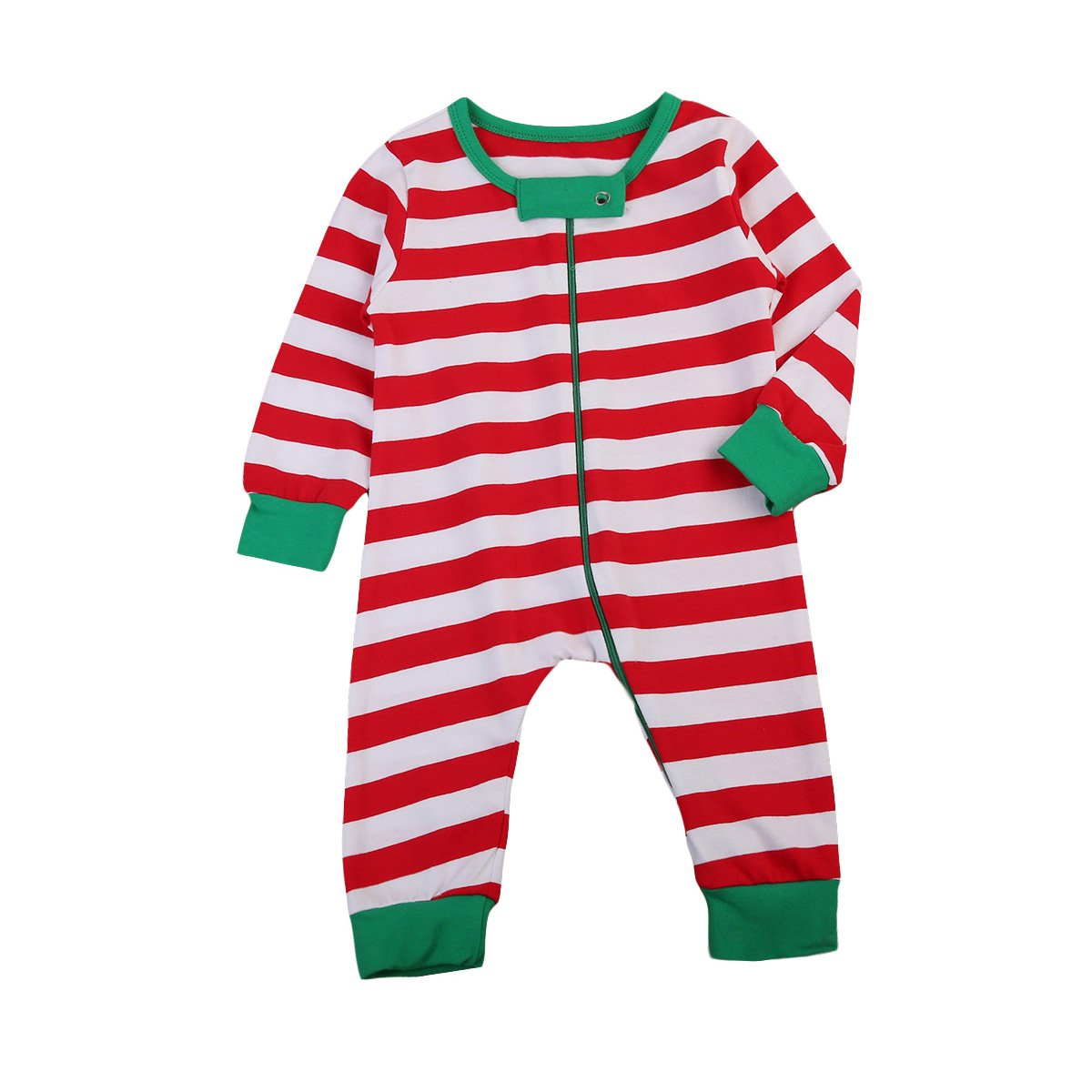 Baby Boys Girls Cotton Stripe Romper Bodysuit Long Sleeve Christmas Jumpsuit Pajamas