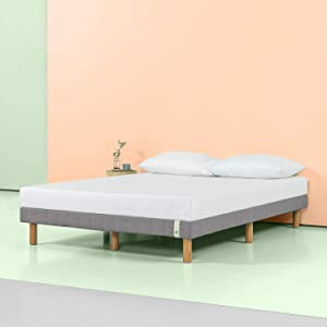 Zinus 11 Inch Quick Snap Standing Mattress Foundation/Low profile Platform Bed/No Box Spring needed, Gray, Full