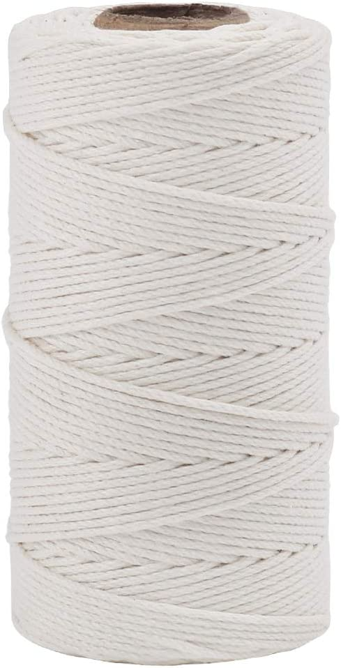 Organic Cotton String, 328 Feet Food Safe Cooking Twine for Tying Meat, Making Sausage, Baking, Candle Wicks, Christmas Wrapping Gifts