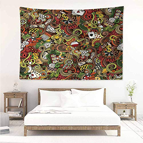 Sunnyhome Tapestry Wall Hanging,Casino Doodle Style Art Bingo,Beach Tapestry,W63x47L]()