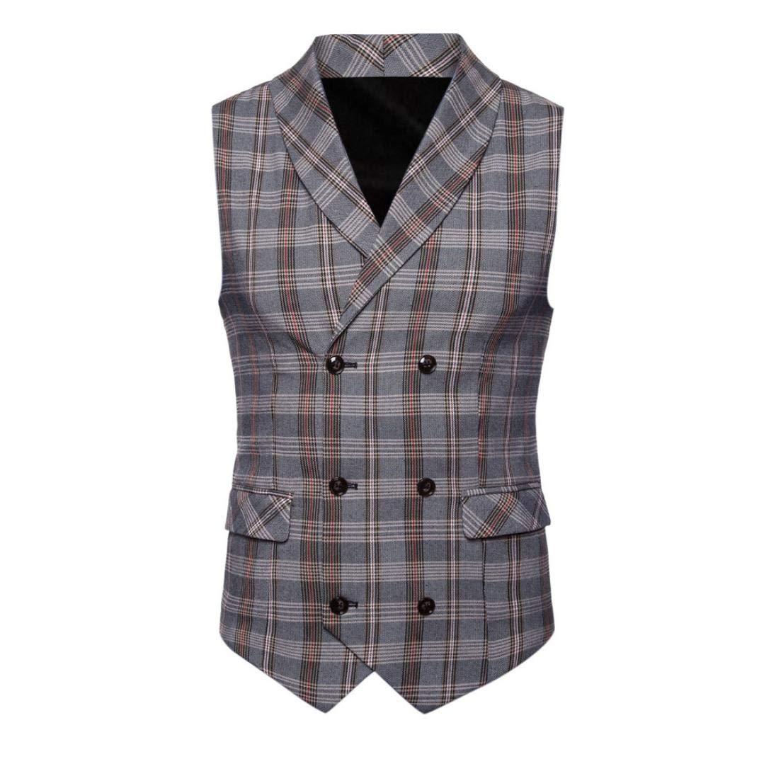iLXHD Casual Men Plaid Printed Sleeveless Jacket Coat Suit Vest Blouse