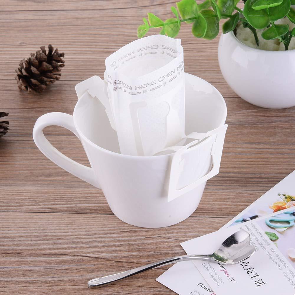 Yichener 50個/100個 ポータブル 家庭 オフィス 旅行 DIY ドリップコーヒーフィルターバッグ 吊り下げ式イヤースタイル コーヒーフィルター 紙製醸造コーヒー   B07MJDKSYD