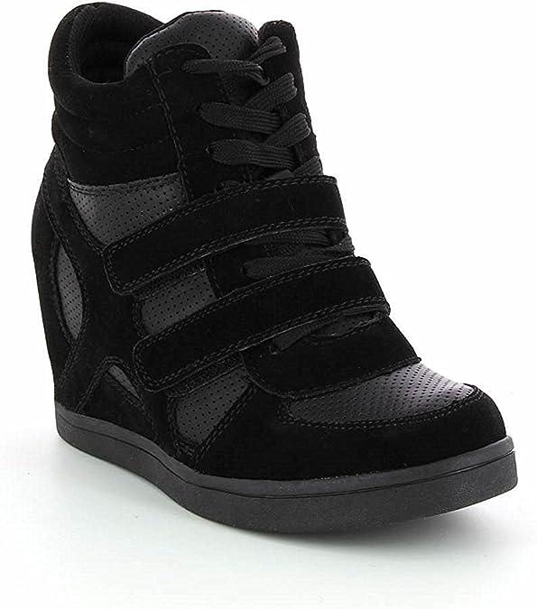 Baskets Compensées Femmes Montantes – Chaussure Sneakers Bi Matière Urban Talon Haut Tennis Casual en Daim Scratch Lacet–PU Suède – Chic Mode