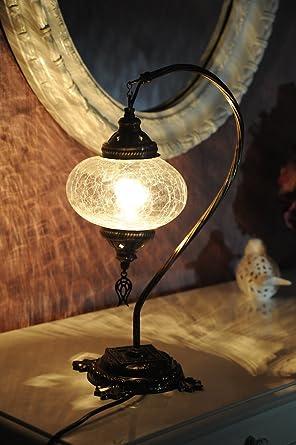 NewDecor Asian Table Lamp Temple Porcelain Jar Blue Floral White Flower Shade for Living Room Family Bedroom Bedside Nightstand