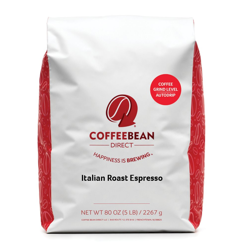 Coffee Bean Direct Italian Roast Espresso Ground Coffee, 5-Pound Bag
