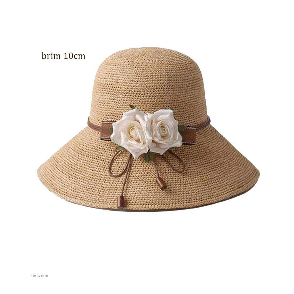 10CM Womens Straw Hat Straw Hat Female Summer ThreeDimensional Flower Beach Hat Seaside Sun Hat Visor Fisherman Travel Sunscreen Folded (color   10CM, Size   A)