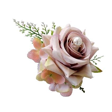 Baoblaze Elegant Artificial Rose Wrist Flower Corsage Bridal Faux