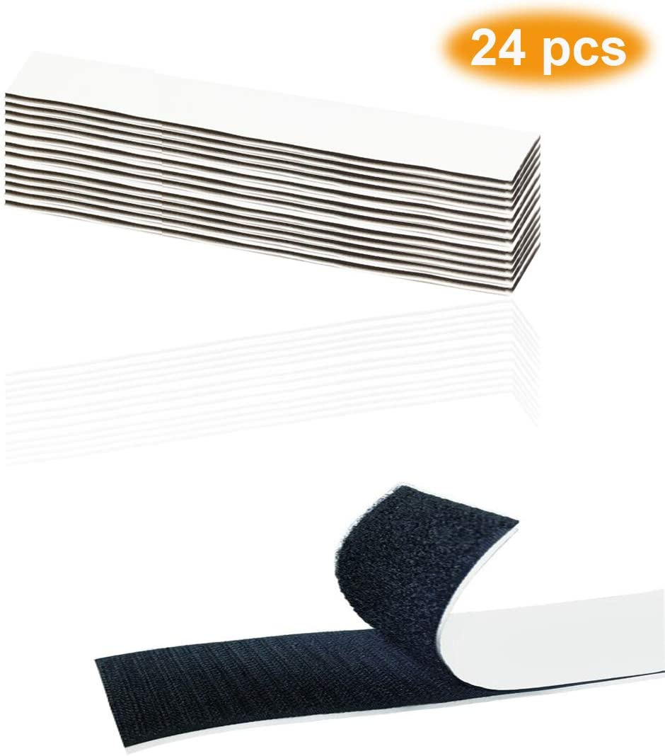 PANTINUE 24 PCS Heavy Duty Adhesive Tape - Industrial Strength Hook Loop Strips - Double Sized Sticky Back - Rug Carpet Gripper Pad Wall Fastening Mounting Squares for Home Office