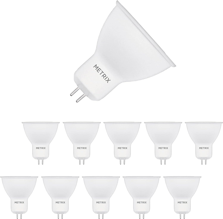 Metrix Bombilla LED GU5.3, 5 W 220-240 VAC, 400 lúmenes, 3000 K, luz blanca cálida, bajo consumo, equivalente a bombillas halógenas de 50 W, ángulo de haz de 38 grados, 10 unidades