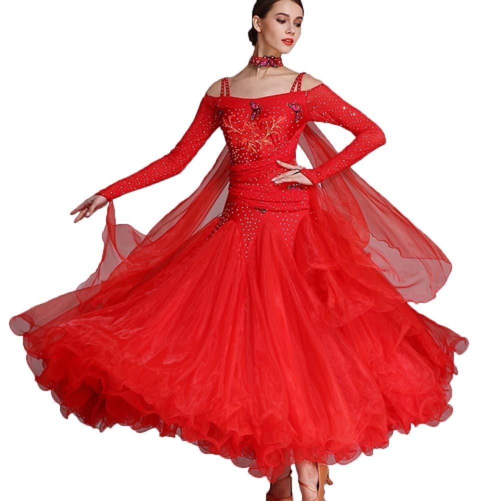 ランキング第1位 女性のための長袖のモダンダンスコンペティションスカート大きなスウィングドレス国家標準社交ダンスダンス衣装 S s|レッド B07QN5JDB1 s S s|レッド レッド S s, 秀光人形工房:be3d4ee6 --- a0267596.xsph.ru