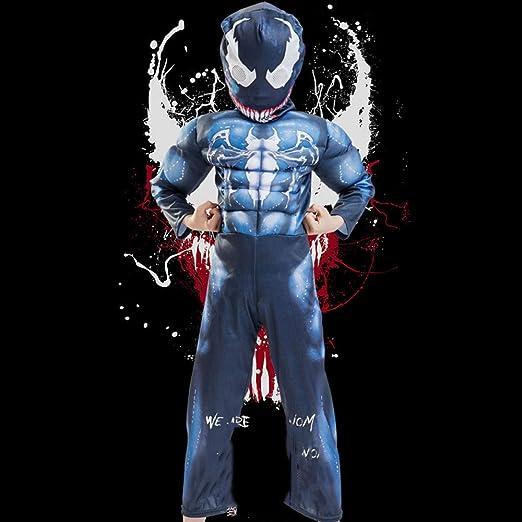 YIWANGO Niño Venom Traje Bola De Disfraces Halloween Impresión Digital 3D Medias Siamesas Cosplay Disfraz,Kids-L