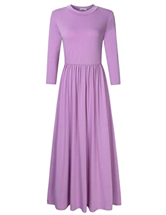 eee6e85010e ETbotu Women Casual Dresses 3 4 Sleeve Long Babydoll Maxi Dress Pockets  Purple M