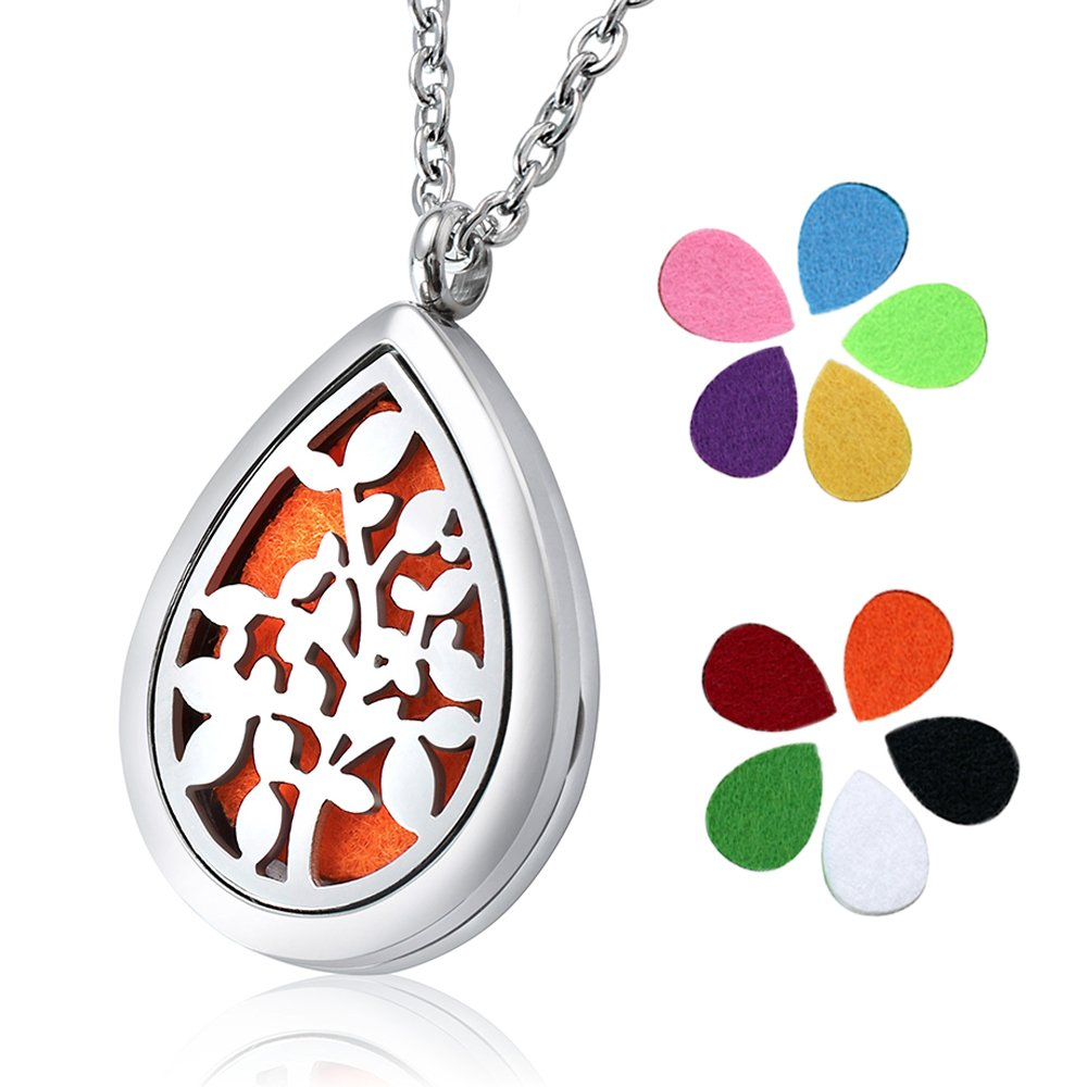 Essential Oil Diffuser Necklace FLYIOGER Aromatherapy Diffuser Magnetic Locket Necklaces with 24'' Chain and 10 Color Refill Washable Pads Gifts for women(Teardrop)