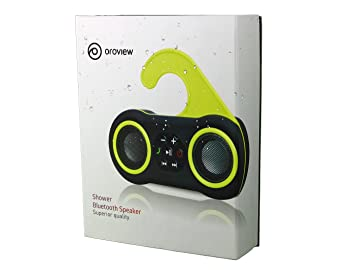 oroview main35264 waterproof stereo bluetooth shower speaker and greenblack