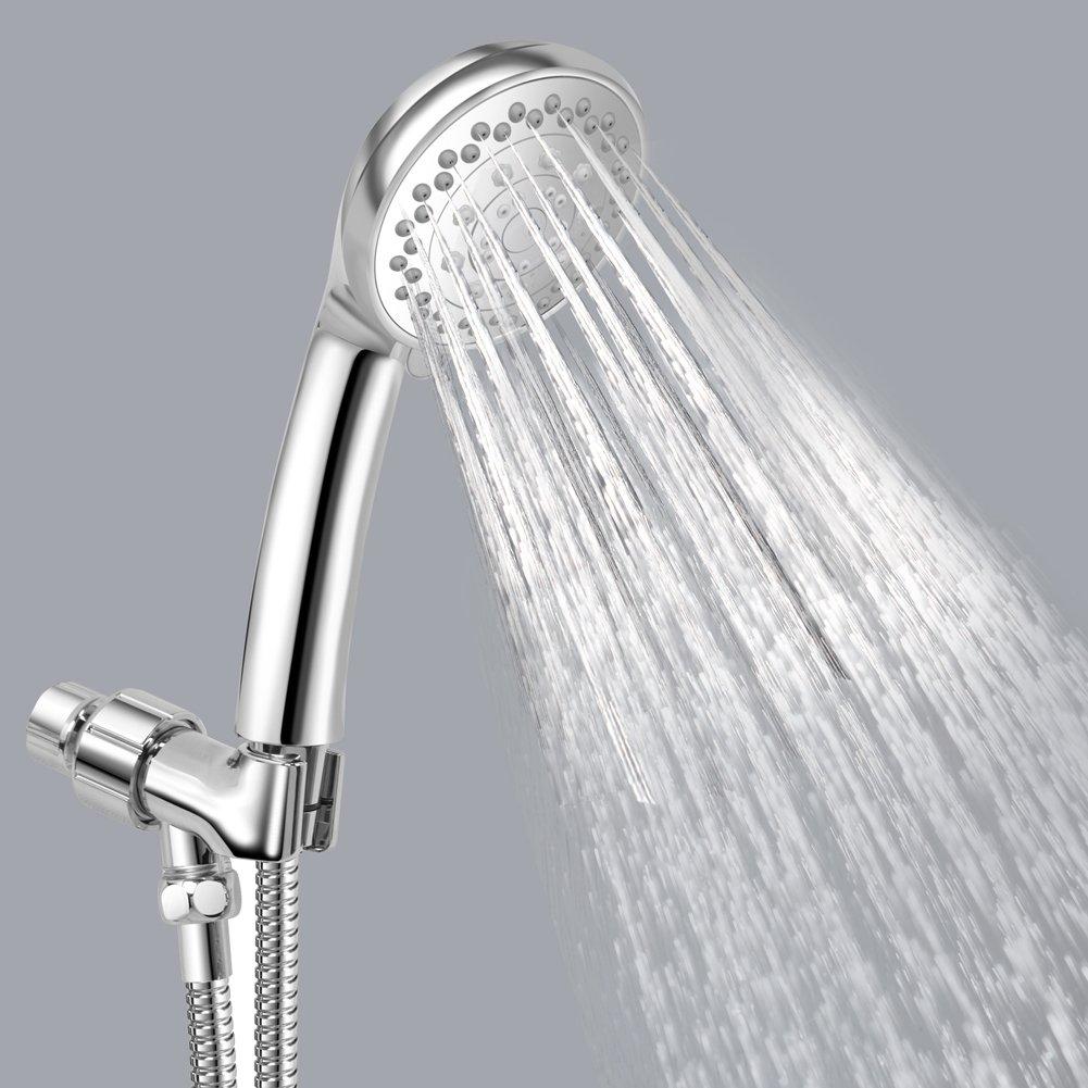 Hand Held Shower Head- Water Saving 5 Function Shower Head with Hose, Bracket-Water Saving Pause Mode