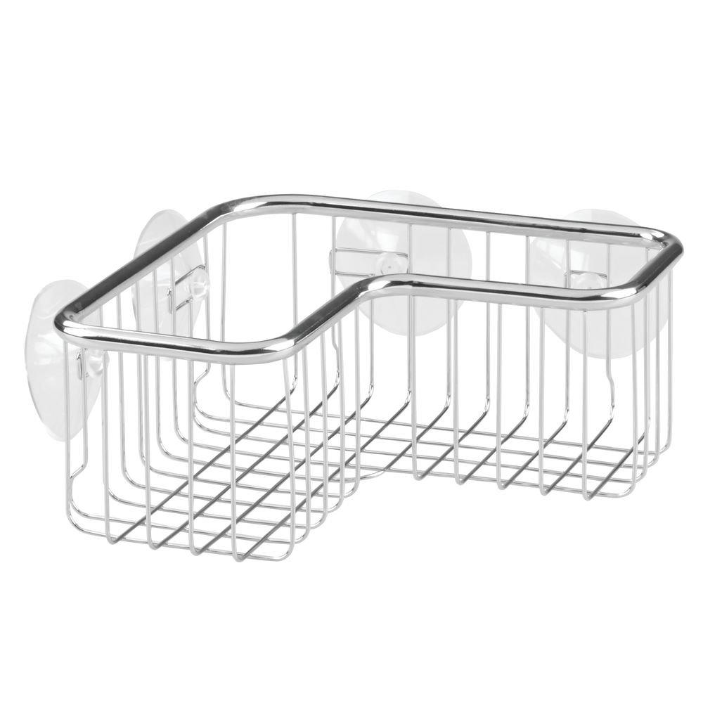 InterDesign Forma Ultra Mensola per doccia, Mensola angolare per doccia in acciaio e plastica con ventose, argento 26321EU bagno conservare scaffale