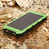 Solar Charger, X-DRAGON Solar Power Bank 10000mAh Portable Rugged Shockproof Dual USB Solar Battery Charger for iPhone 6 Plus 5S 5C 5 4S, iPod, Samsung Galaxy S6 S6 Edge S5 S4 S3 Note 4 3, LG G3, Nexus, HTC One M9, Gopro Camera, GPS and More (Green)