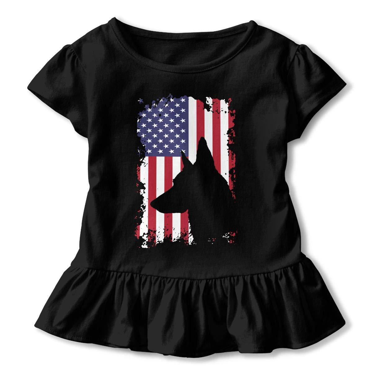 SHIRT1-KIDS German Shepherd American Flag Childrens Girls Short Sleeve Ruffles Shirt Tee for 2-6 Toddlers