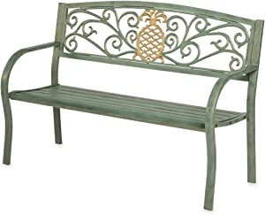 Evergreen Garden Beautiful Functional Light Green Verdigris Pineapple Metal Outdoor Garden Bench 50 x 21 x 33.6 Inches