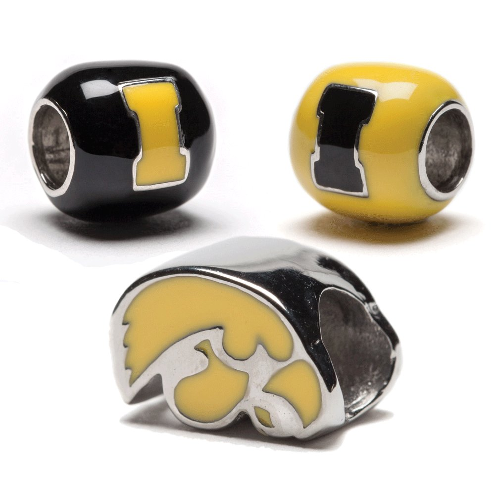University of Iowa Charms | UI Hawkeyes - Yellow Hawkeyes Bead with Yellow and Black UI Charms | Officially Licensed University of Iowa Jewelry | UI Charms | UI Gifts | Stainless Steel by Stone Armory