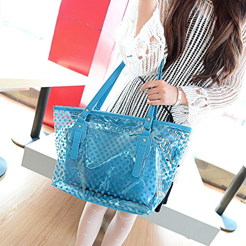 Candy Purse Summer Beach Women Transparent Tote Bag ShiyiUP Blue Shoulder Handbag Jelly UHCEwq