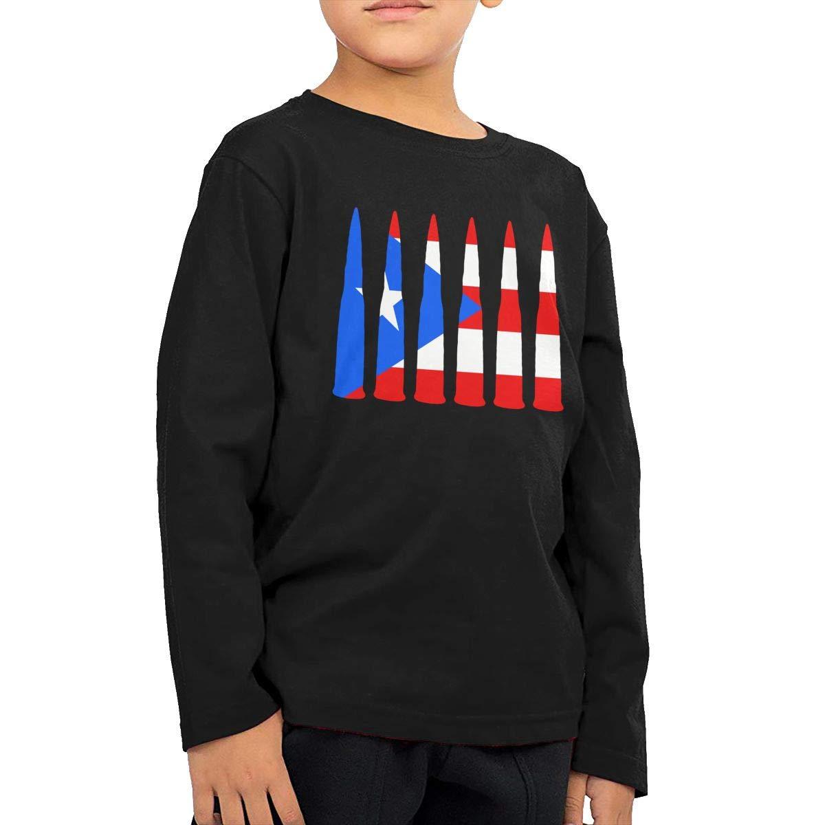 Toddler Puerto Rico Flag Bullet ComfortSoft Long Sleeve T-Shirt