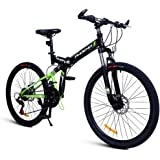 Folding Mountain Bike/Outdoor Children's Bicycle/ 24-inch Men And Women Adult Bicycle/Student Pedal Bicycle/ (Color…