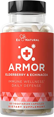 Armor Immune Support Daily Defense for Healthy Immunity Support, Physical Wellness, Seasonal Protection Elderberry, Echinacea, Zinc, Vitamin C 60 Vegetarian Soft Capsules