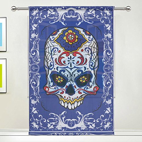 Teen Hoodie Grateful Bear Purple Dead Costumes (Sugar Skull Dia De Los Muertos Window Sheer Curtain Panels, 55x84 inch, Gauze Curtain for Living Room Bedroom Home)