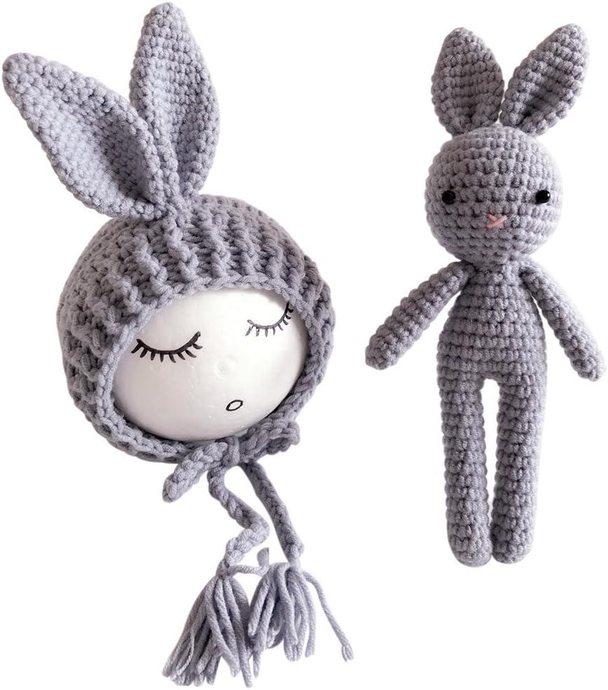 YeahiBaby Conejito de punto de conejito de punto de bebé recién nacido Beanie con muñecas de conejo Fotografía Accesorios de soporte de foto (Gris)