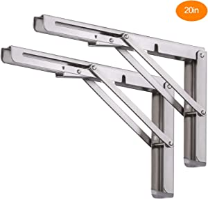 20 inch Folding Shelf Brackets, Heavy Duty Stainless Steel Collapsible Shelf Bracket, DIY Triangle Folding Shelf Bracket Wall Mounted for Table Work Bench Space Saving, 2 Pack