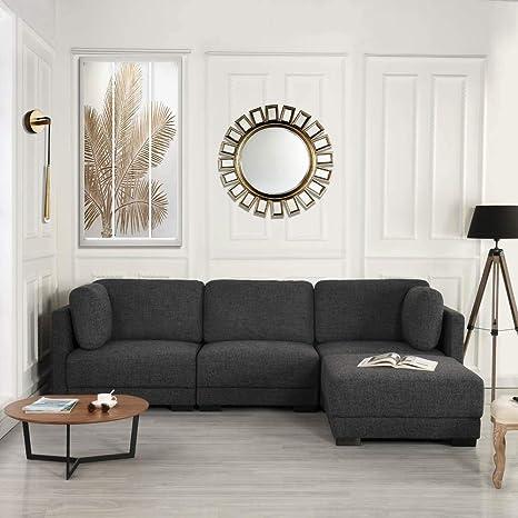 Casa Andrea Milano Sectional Sofa | Linen Upholstery w/Plush High Density Memory Foam Fill (Dark Grey)