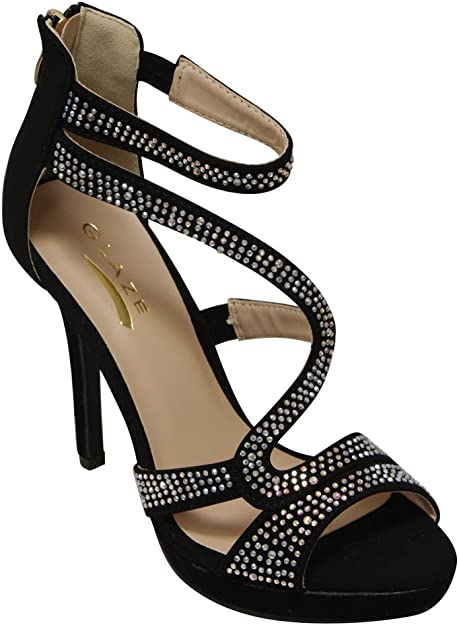 Ladies Shoes Black Open Heeled Shoes Size8 By Blink Brand New Free Delivery